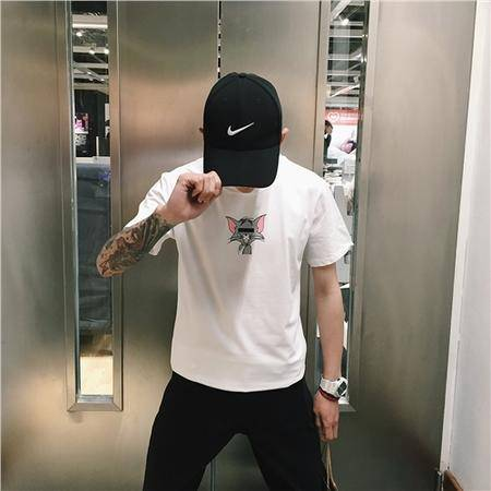 MSSEFN小清新潮男百搭 简洁小猫印花时尚TEE修身圆领短袖T恤 WT02P30