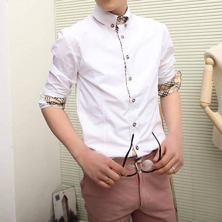 MSSEFN休闲商务风 格子贴边设计时尚衬衫 男 长袖