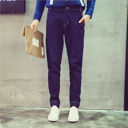 MSSEFN新款 修身罗口拼接休闲 牛仔裤男 青少年301A K02