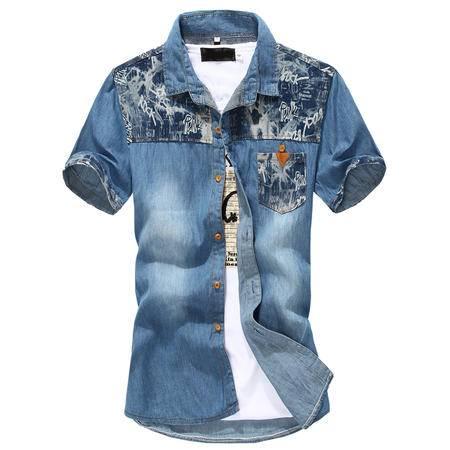 MSSEFN青少年潮男短袖衬衫牛仔全棉衬衣