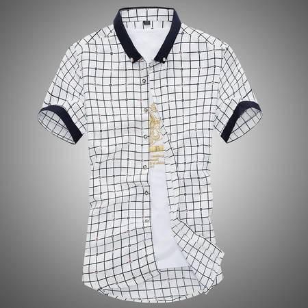 MSSEFN春夏新款青少年衬衣短袖衬衫潮男格子拼色修身