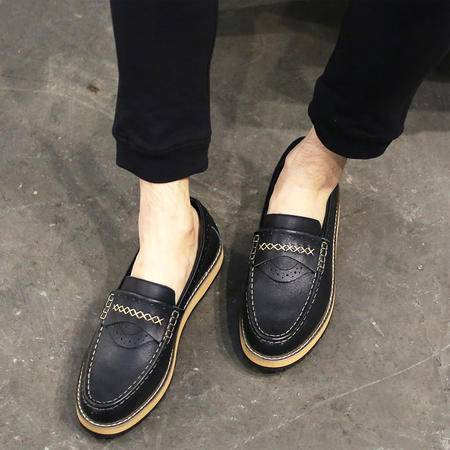 MSSEFN韩系复古做旧帆船鞋流苏男鞋乐福鞋 418-E022P235