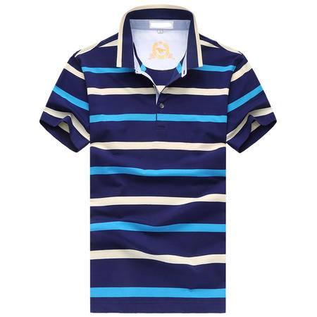 MSSEFN中老年男装短袖条纹T恤衫 翻领大码 商务男士POLO衫