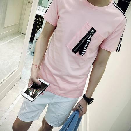MSSEFN个性原宿男装青年创意口袋拉链纯色短袖T恤 钱塘
