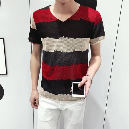 MSSEFN夏季韩版潮条纹V领修身短袖T恤男装