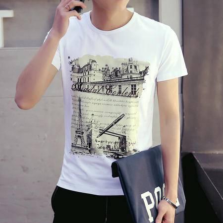 MSSEFN夏季新款印花 半袖T恤 男装潮流韩 版纯棉男士短袖t恤男