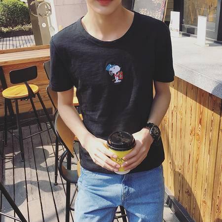 MSSEFN夏季新款男装港仔店主风短袖T恤衫韩版时尚男士个性印花潮