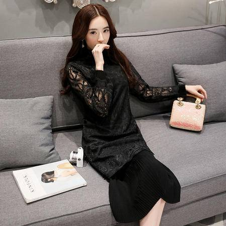 MSSEFN爆款夏季新品女装韩版时尚优雅蕾线纯色连衣裙女