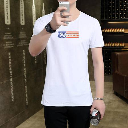 MSSEFN短袖t恤男韩版修身圆领休闲时尚大码男装打底衫潮男体恤