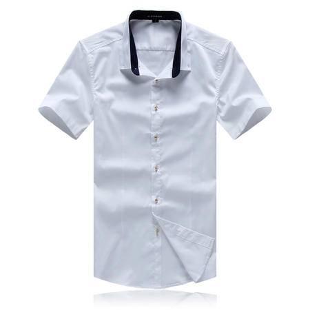 MSSEFN夏款男装修身时尚休闲短袖男衬衫