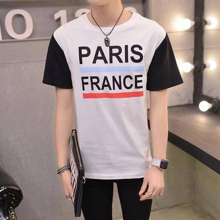 MSSEFN夏季新款男装 韩版简洁拼色字母 纯棉短袖t恤