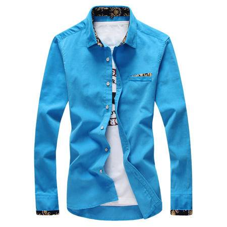 MSSEFN春季男士衬衣男士衬衫男长袖修身款韩版男装休闲衬衫
