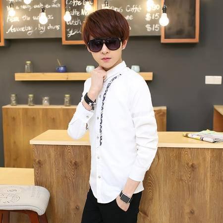 MSSEFN男装长袖衬衫工作服男韩版白衬衫男修身青少年夏天防晒衣长袖衣服