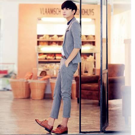 MSSEFN春夏款 男装潮男韩版修身纯色中袖小西服男士套装