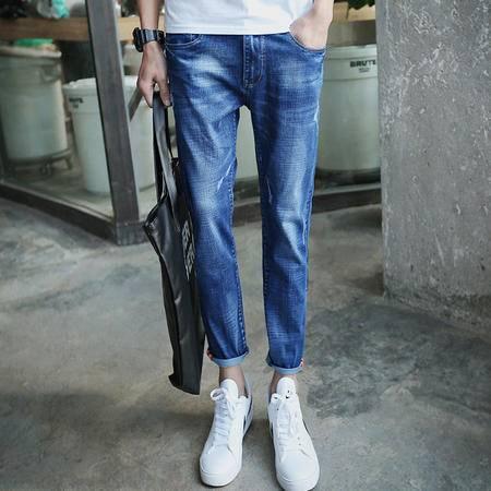 MSSEFN夏季新款潮九分裤男装 青少 年小脚9分裤子男士牛仔 裤