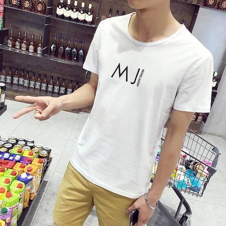 MSSEFN韩版圆领印花短袖T恤 大码男装