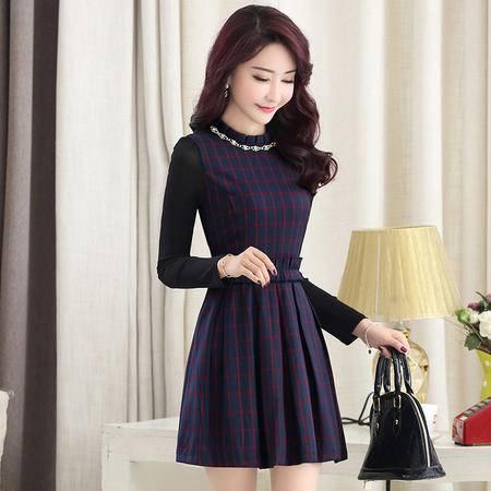 MSSEFN春季女装新款时尚圆领气质优雅修身格子连衣裙