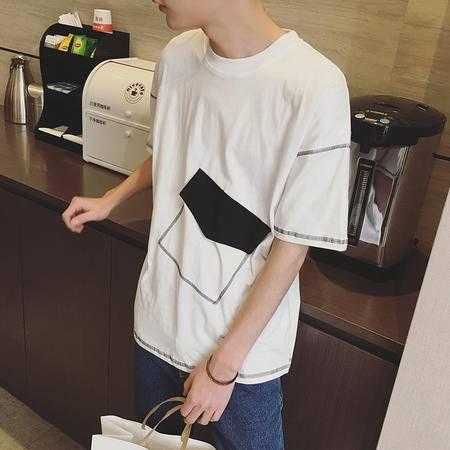 MSSEFN夏季新款男装港仔店主风短袖T恤衫韩版时尚男士个性