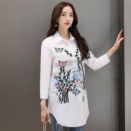 MSSEFN爆款春夏季新品女装白色衬衣韩版时尚绣花衬衫女