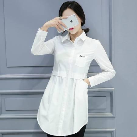 MSSEFN春季衬衫新款韩版中长款修身衬衣女装Y020P80
