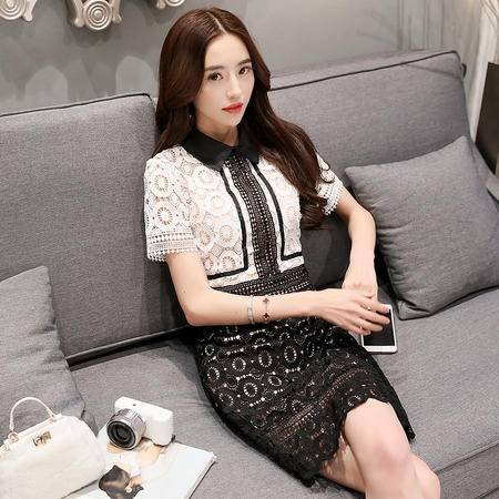 MSSEFN爆款夏季新品女装韩版时尚性感黑白蕾丝裙女