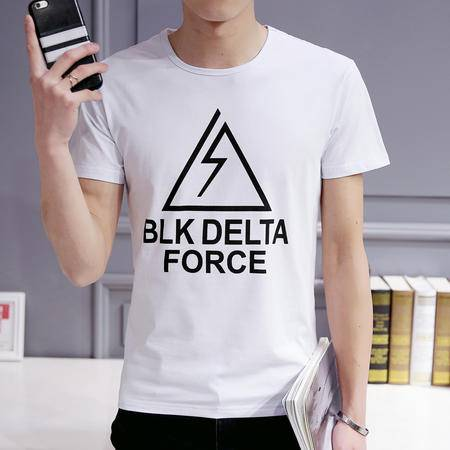 MSSEFN夏新款潮韩版修身男士短袖T恤男打底衫男装印花半袖 t恤