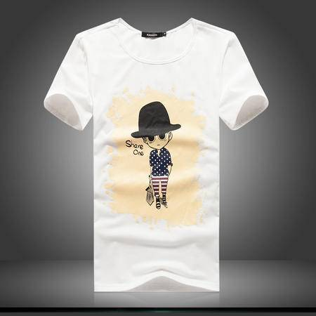 MSSEFN纯棉韩版修身休闲卡通印花短袖T恤男加肥加大男装钱塘