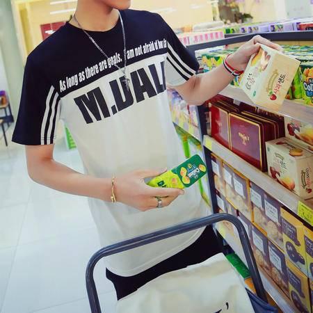 MSSEFN夏季新款男装 韩版拼色字母 纯棉男士短袖T恤