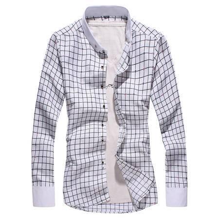 MSSEFN男装衬衫2016春夏格子印花长袖衬衫修身免烫休闲衬衫