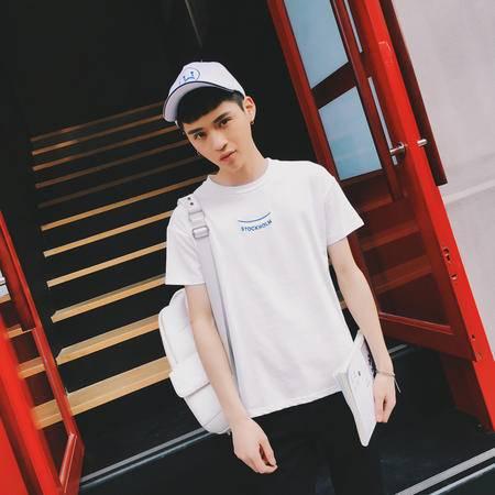 MSSEFN夏装新款 男装港风休闲绣花短袖T恤 男修身圆领短T恤