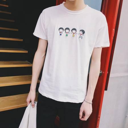 MSSEFN夏装新款 男装港风休闲问号短袖T恤男修身绣花短T恤