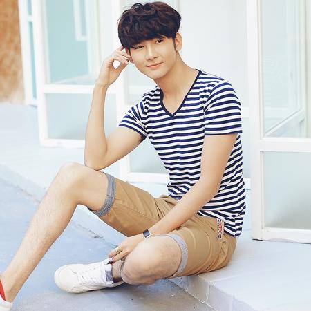 MSSEFN夏季新款男装 韩版简洁条纹 男士纯棉短袖T恤