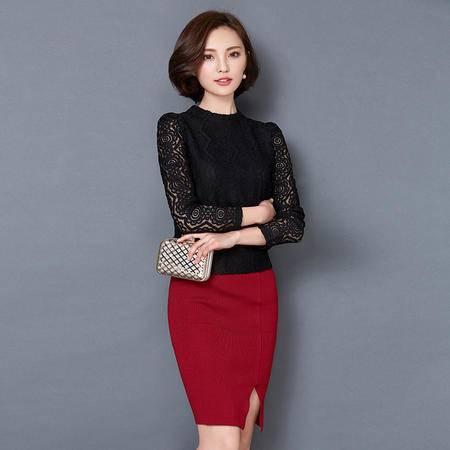 MSSEFN春季女装新款时尚圆领气质名媛修身蕾丝打底衫