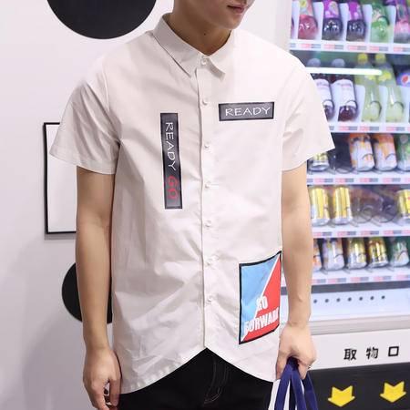 MSSEFN夏季新款男装青少年韩版长款短袖衬衫时尚潮男