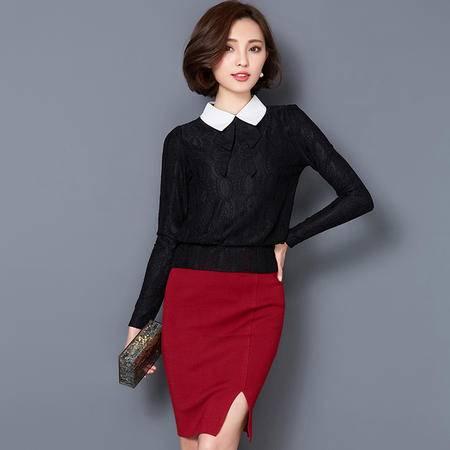 MSSEFN春季女装新款优雅翻领气质名媛修身蕾丝打底衫