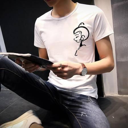 MSSEFN夏季蜡笔小新卡通短袖T恤男士加肥加大码半袖打底衫青少年潮男装
