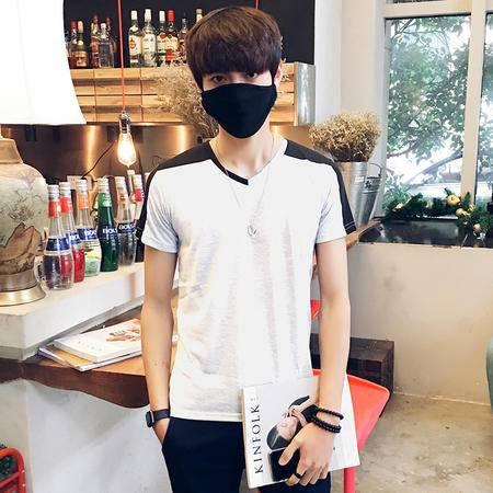 MSSEFN夏装新品潮韩版男式V领撞色短袖T恤男装打底衫