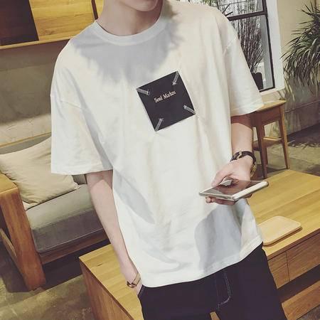 MSSEFN港仔男装夏季新款刺绣男士纯色圆领短袖T恤潮