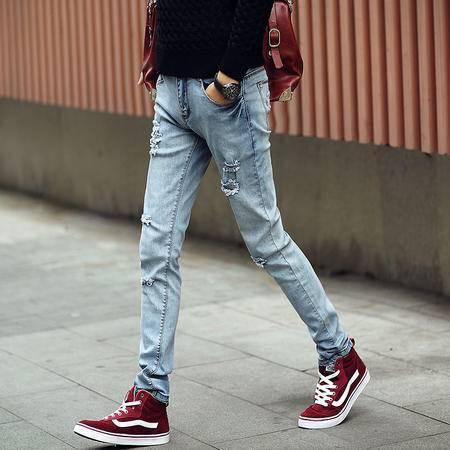 MSSEFN春夏新款男装破洞小脚牛仔裤
