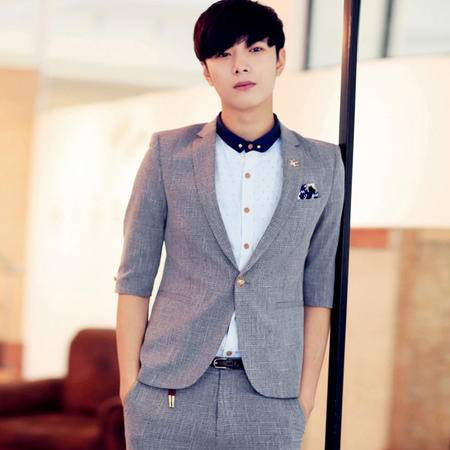 MSSEFN男装潮韩版修身四种纯色中袖西装(有套装