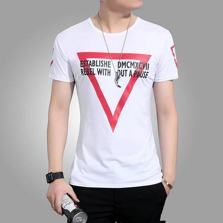 MSSEFN男T恤 纯棉体恤圆领韩版修身半袖白色打底衫男装潮