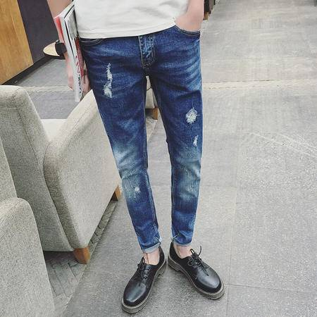 MSSEFN新款男式蓝色猫抓破洞牛仔裤休闲修身小脚裤潮男韩版裤