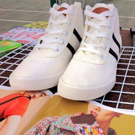 MSSEFN春夏款纯色简约百搭休闲鞋 小清新学生高帮帆布鞋