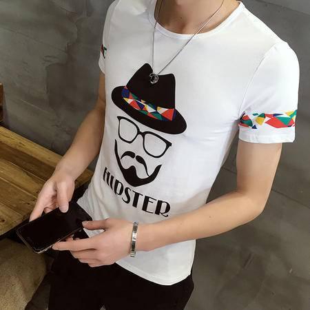 MSSEFN男士短袖T恤桖纯棉印花圆领男装潮体恤血夏季修身男