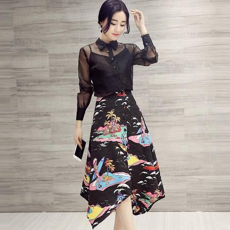 MSSEFN春季新款韩版连衣裙套装上衣半身裙三件套
