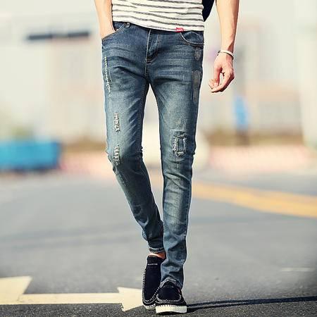MSSEFN新品潮牌时尚九分破洞小直脚刺绣牛仔裤 男潮大码