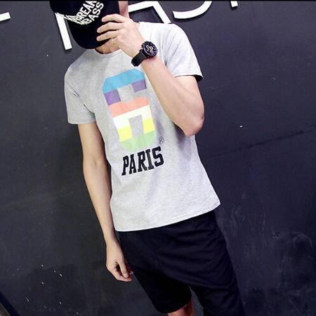 MSSEFN潮男男装夏季新款男士短袖T恤彩色大号6字母圆领T恤卫衣