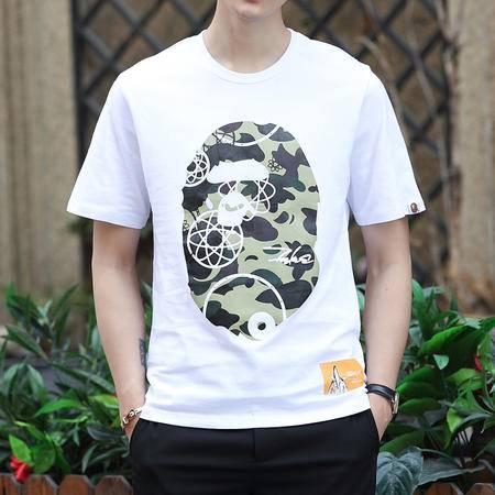 MSSEFN夏季新款日韩宽松夏装迷彩印花个性短袖t恤