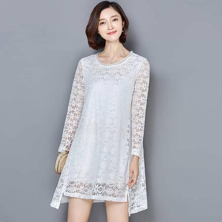 MSSEFN夏装新款女装性感时尚浪漫圆领镂空法式蕾丝连衣裙