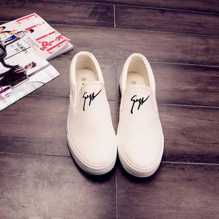 MSSEFN春季帆布鞋低帮韩版一脚套懒人男鞋不系带学生布鞋男士休闲鞋